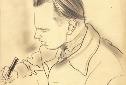[ilustracja do tekstu: Czesław Miłosz, rys. Janusz Janowski (1945), kredka/papier, ze zbiorów ML]